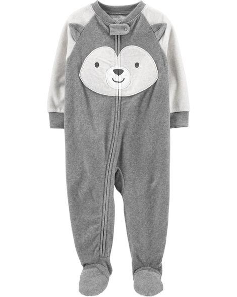 Pyjama 1 pièce à pieds en molleton à motif husky