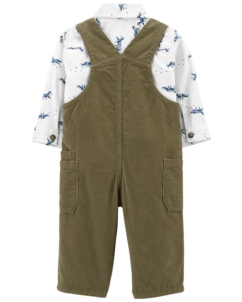 2-Piece Button-Front Top & Overall Set, , hi-res