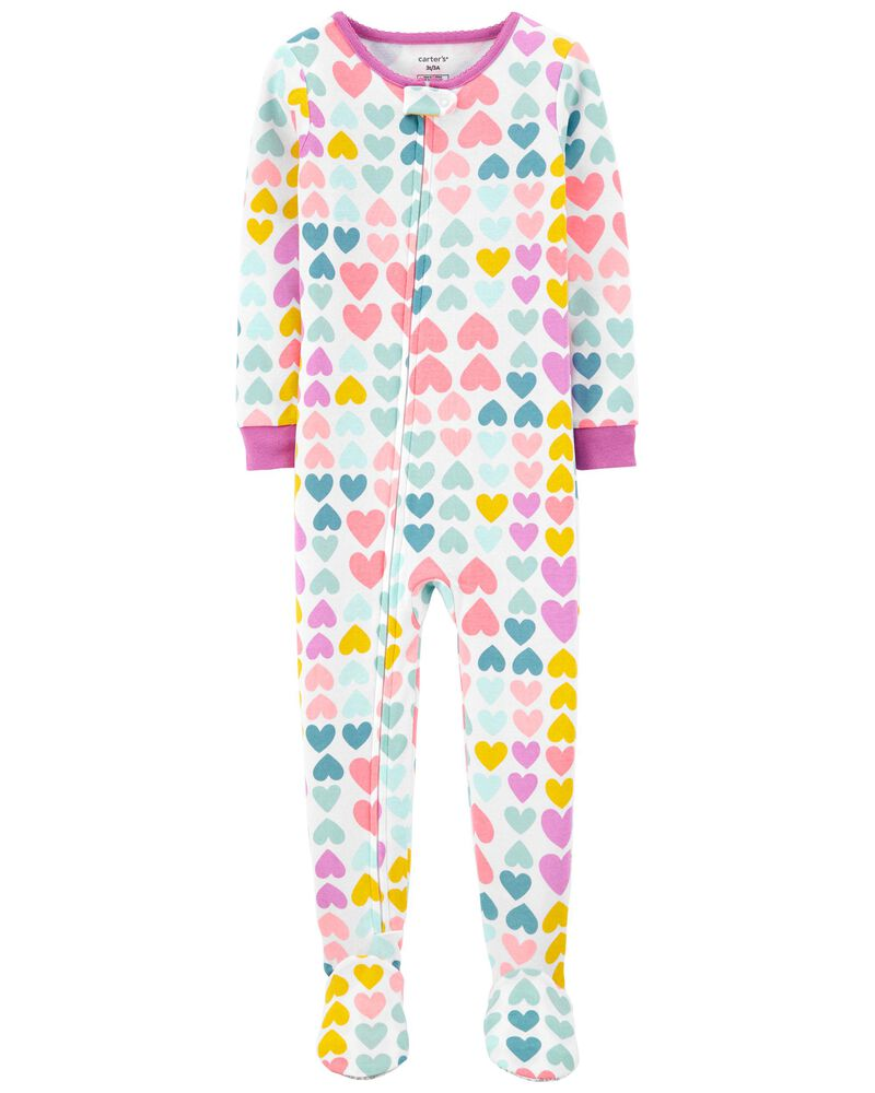 1-Piece Hearts 100% Snug Fit Cotton Footie PJs, , hi-res