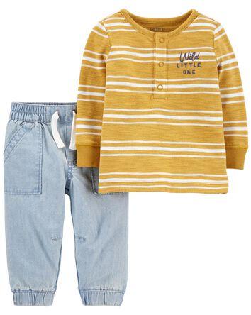 2-Piece Striped Sweater & Chambray...