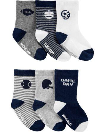 6-Pack Sports Crew Socks