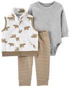 3-Piece Bear Little Vest Set, , hi-res
