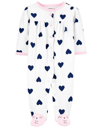 Heart Snap-Up Cotton Sleep & Play