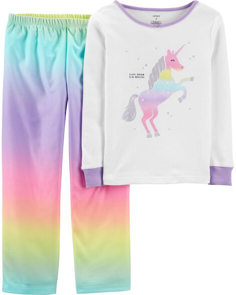 2-Piece Rainbow Unicorn Snug Fit Cotton & Fleece PJs
