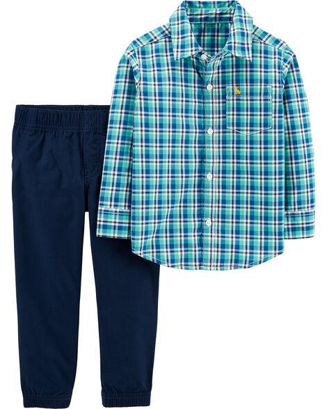 Ensemble 2 pièces chemise boutonnée à motif écossais et pantalon en popeline