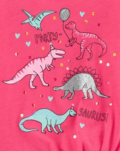 T-shirt en jersey avec dinosaure et nœud devant