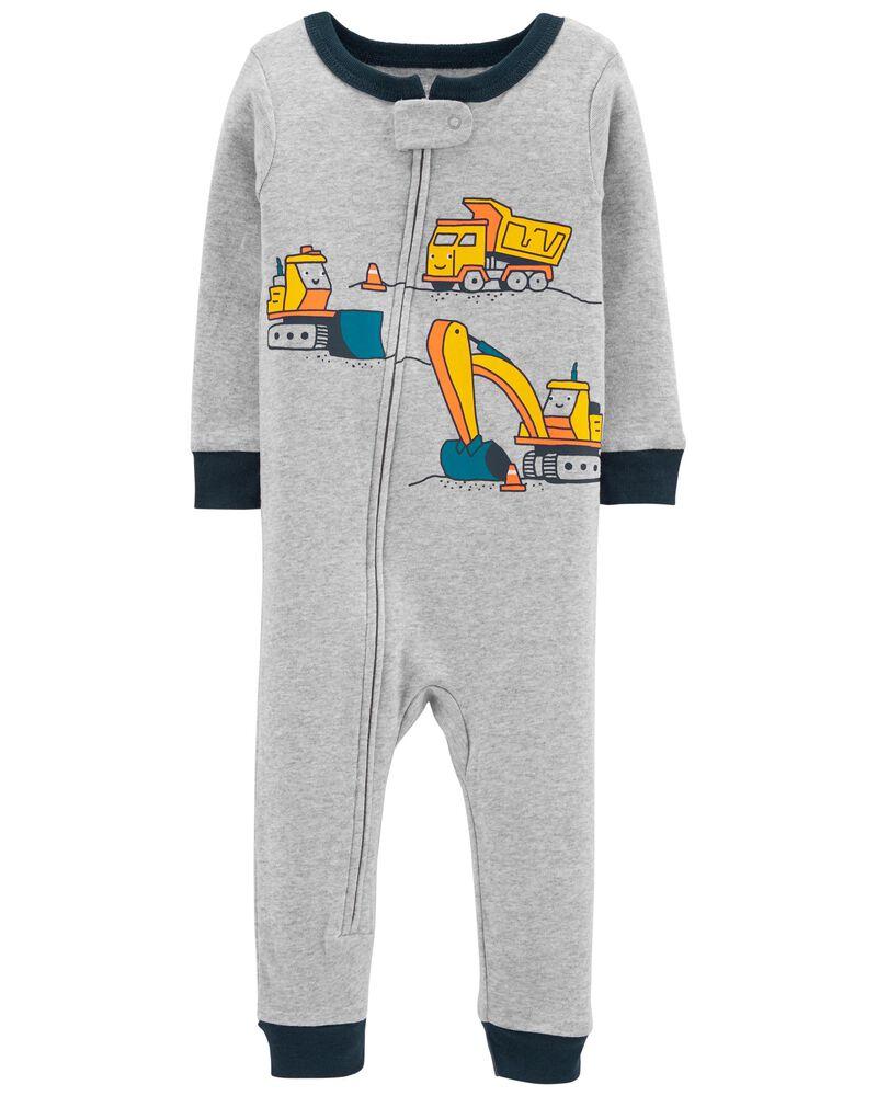 Pyjama 1 pièce à pieds en coton ajusté construction, , hi-res