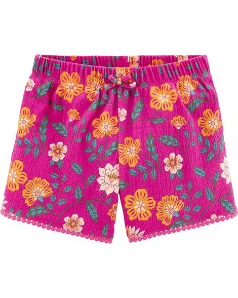 Floral Crinkle Jersey Shorts