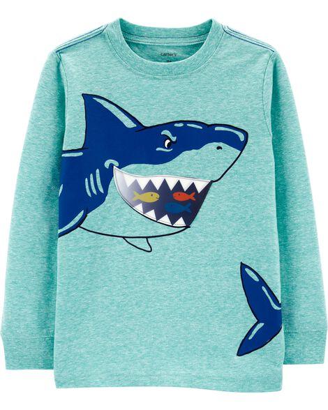 T-shirt chiné à requin en action