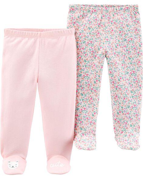 Emballage de 2 pantalons à pieds en coton