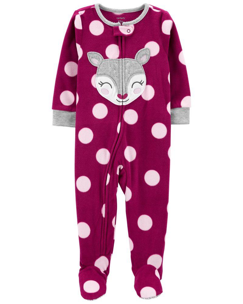 Pyjama 1 pièce en molleton sans pieds à chevreuil, , hi-res