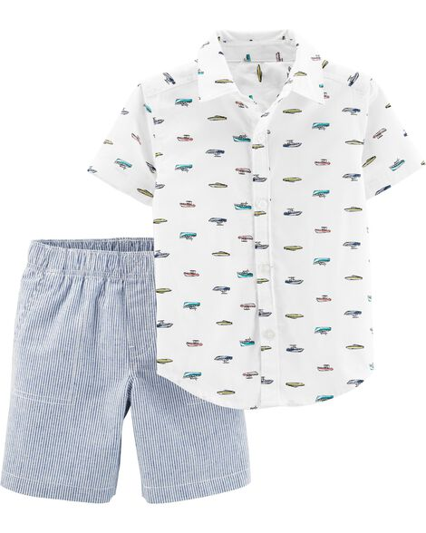 2-Piece Boat Button-Front Top & Striped Set