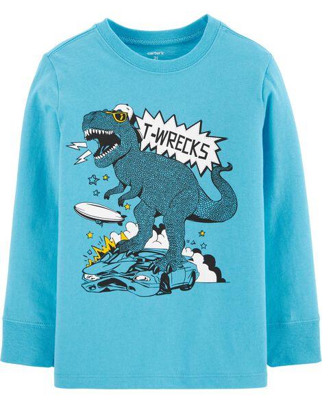 T-shirt en jersey à tyrannosaure et voiture