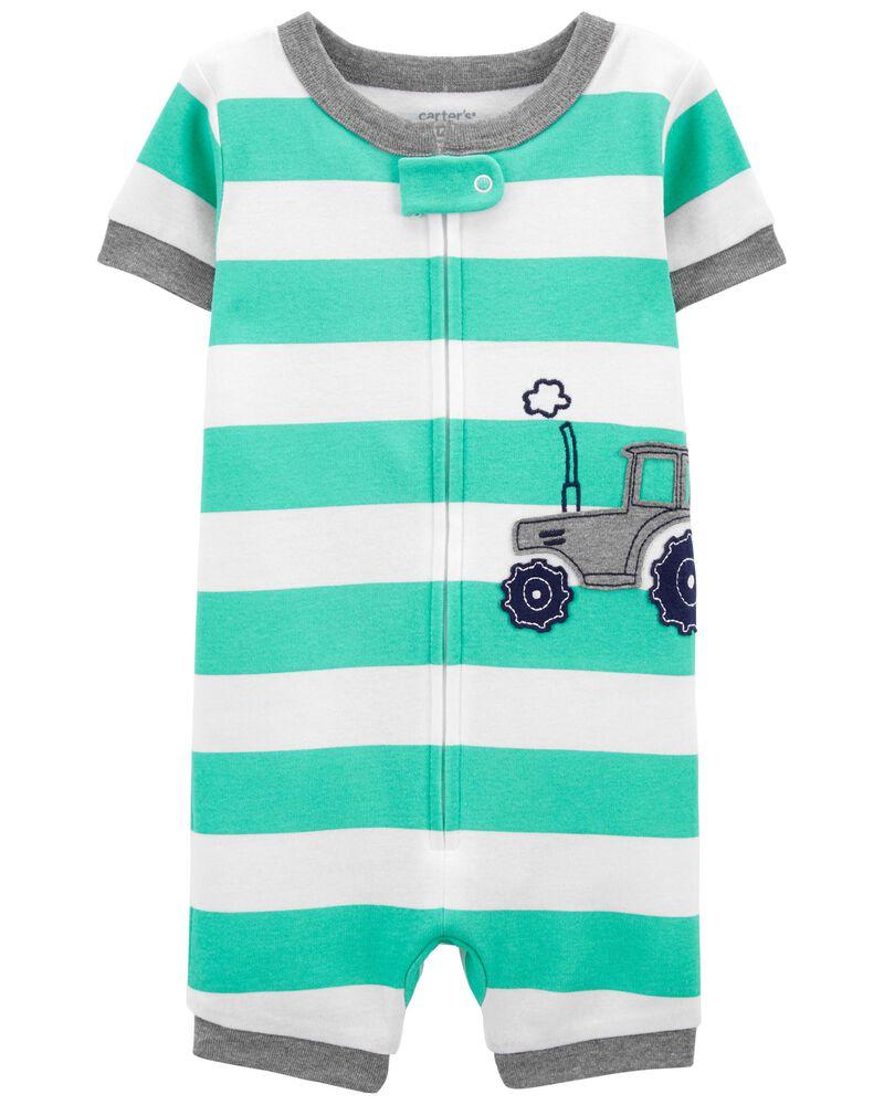 Pyjama barboteuse 1 pièce en coton ajusté à motif de tracteur, , hi-res