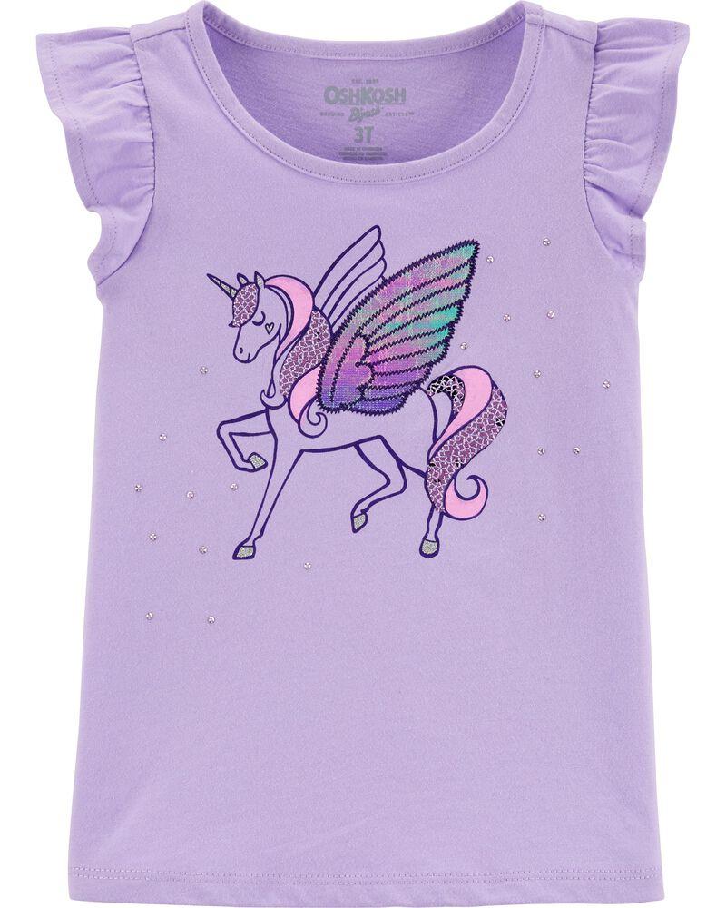 T-shirt à manches volantées et licorne, , hi-res