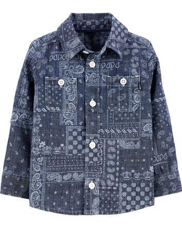 Chambray Bandana Button-Front Shirt