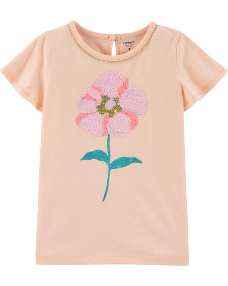 T-shirt en jersey à fleurs scintillantes