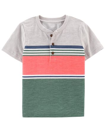 Striped Piqué Slub Henley