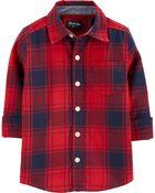 Plaid Flannel Button-Front Shirt, , hi-res