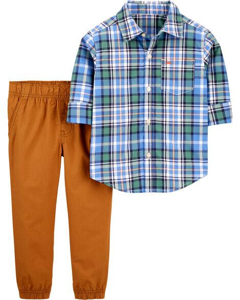 2-Piece Plaid Button-Front Shirt & Pant Set