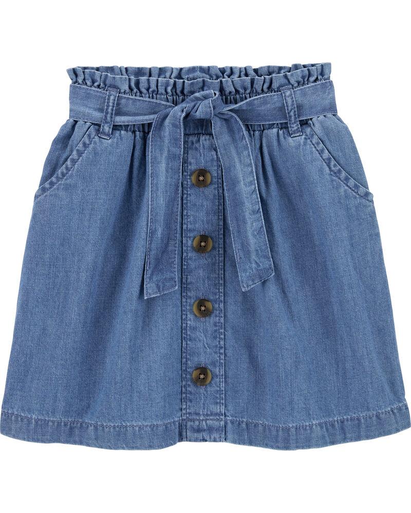 Chambray Ruffle Waist Skirt, , hi-res