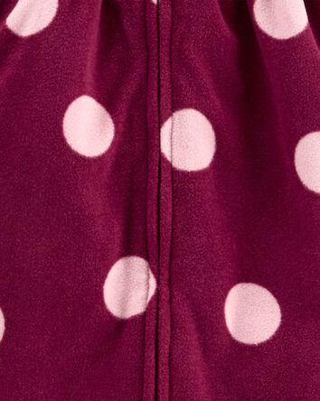 Polka Dot Zip-Up Fleece Jumpsuit