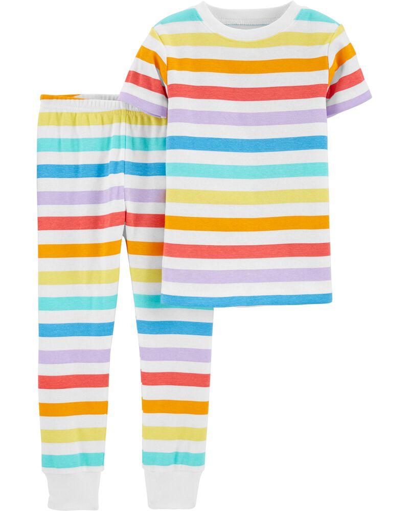 Pyjamas 2 pièces en coton ajusté à arc-en-ciel , , hi-res