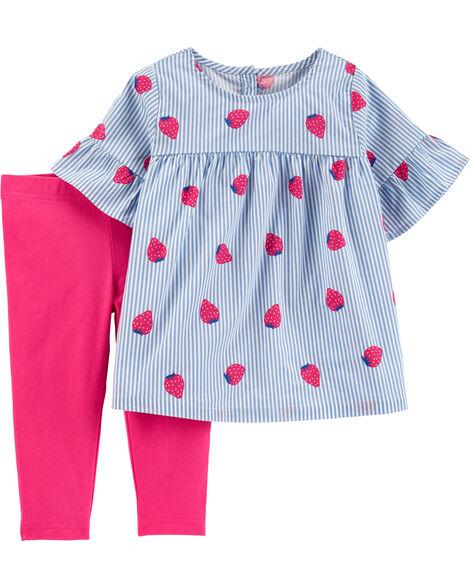2-Piece Striped Strawberry Top & Legging Set