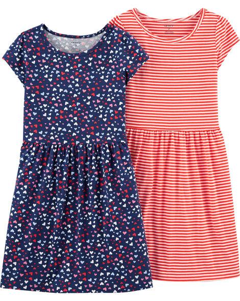 Emballage de 2 robes à cœurs et rayées