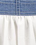 Robe chasuble en tricot de denim à œillets, , hi-res