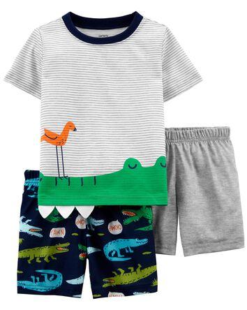 3-Piece Alligator Loose Fit PJs
