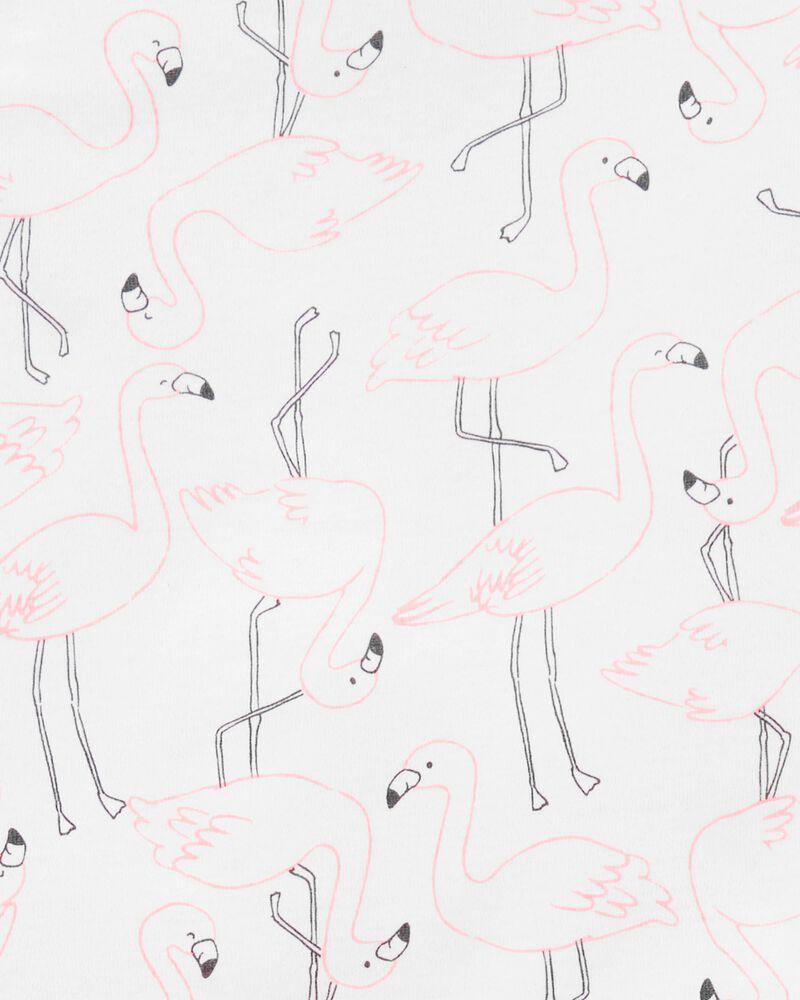 Pyjama 4 pièces en coton ajusté à flamant, , hi-res