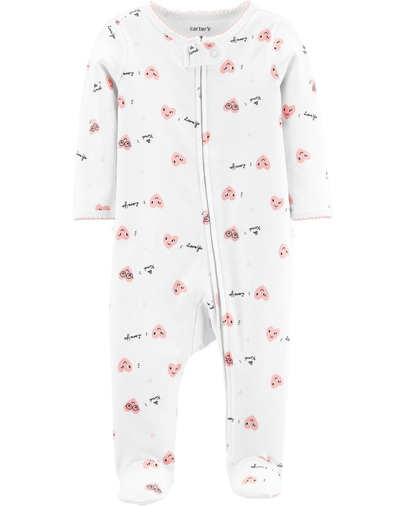 Heart Zip-Up Cotton Sleep & Play, , hi-res