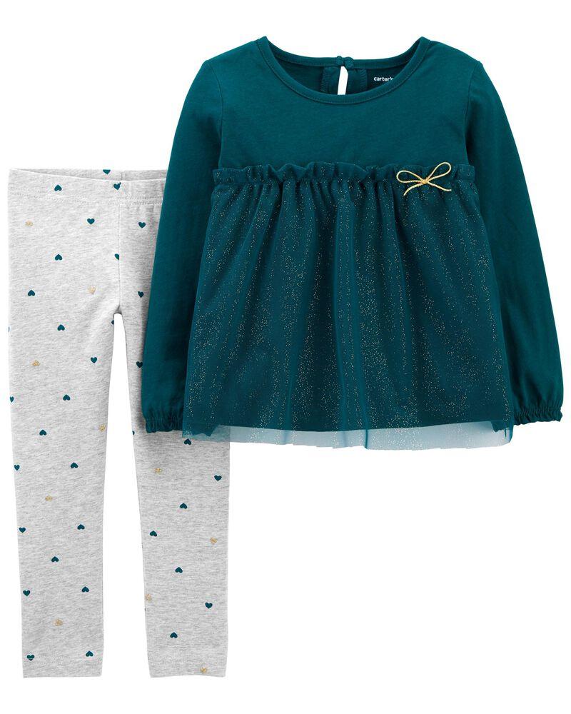 2-Piece Tulle Jersey Top & Legging Set, , hi-res