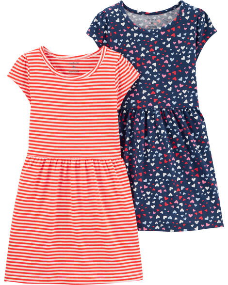 2-Pack Striped & Hearts Jersey Dresses