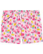 Heart Pull-On French Terry Shorts, , hi-res