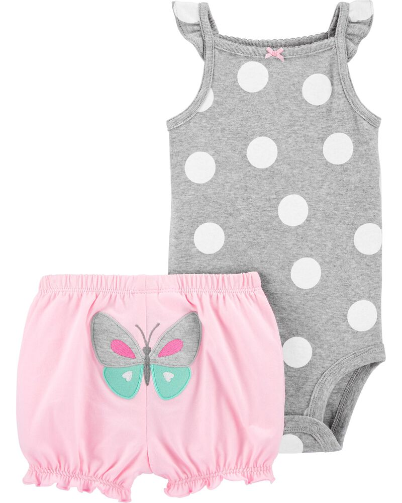 2-Piece Polka Dot Bodysuit Short Set, , hi-res