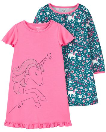 2-Pack Unicorn Nightgowns