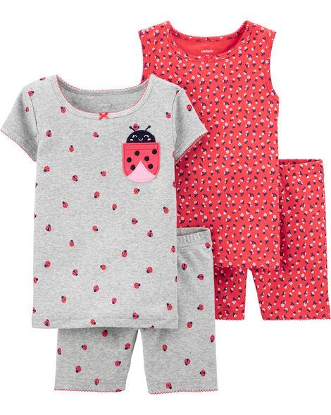 4-Piece Ladybug Snug Fit Cotton PJs