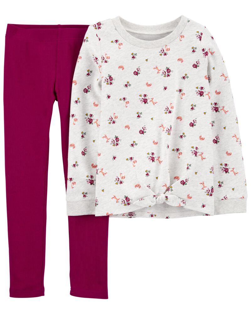 Ensemble 2 pièces haut en jersey bouclette à fleurs et legging , , hi-res