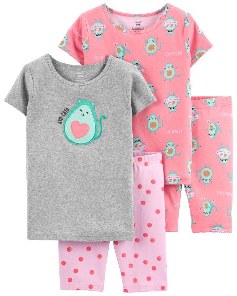 Pyjamas 4 pièces en coton ajusté avocat, , hi-res