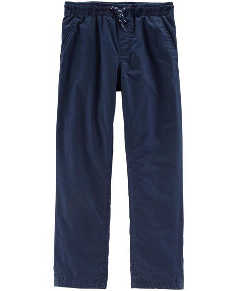 Jersey-Lined Poplin Pants