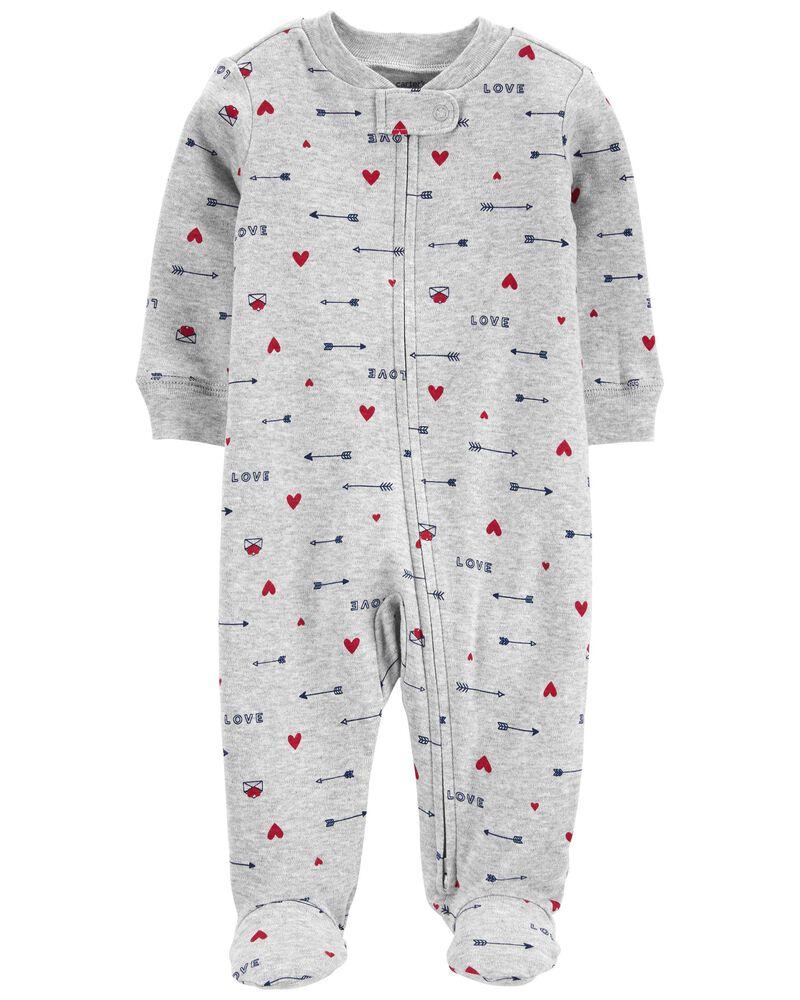 Valentine's Day 2-Way Zip Cotton Sleep & Play, , hi-res