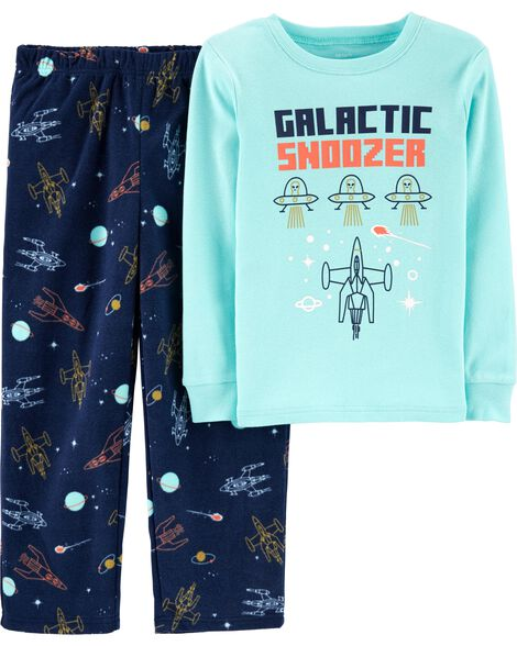 2-Piece Space Snug Fit Cotton & Fleece PJs