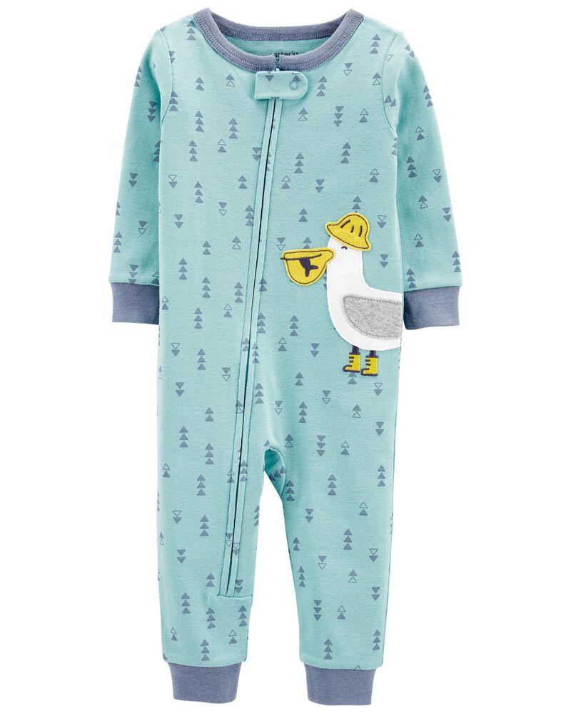 Pyjama 1 pièce sans pieds en coton ajusté à pélican, , hi-res
