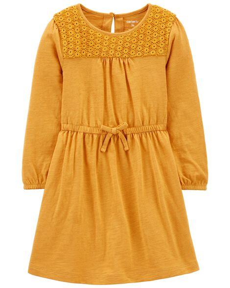 Crocheted Slub Jersey Dress