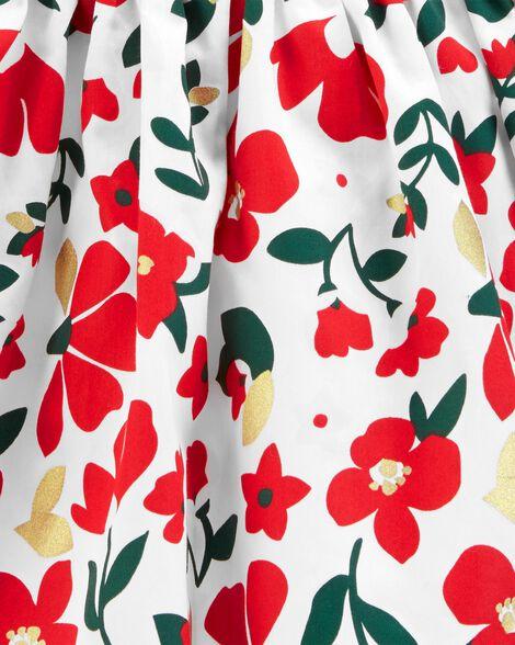 Robe en satinette fleurie des Fêtes