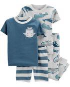 Pyjama 4 pièces en coton ajusté à motif baleine, , hi-res
