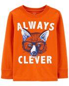 T-shirt en jersey à renard Always Clever, , hi-res