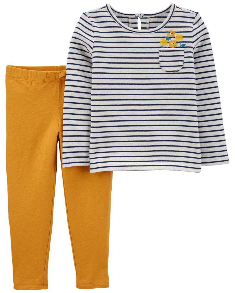 2-Piece Striped Tee & Slub Jersey Pants, , hi-res